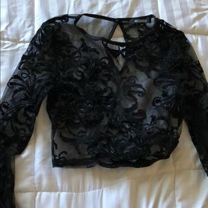 Missguided long sleeve mesh crop top